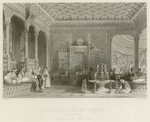 Interior of a Turkish Caffinet, Constantinople. Illustration for The Gallery of Engravings (circa 1880). Drawn by Thomas Allom, engraved by WH Capone.