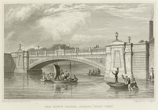 The King's Bridge, Dublin, (West View.) Illustration for The Gallery of Engravings (circa 1880). Drawn by George Petrie, engraved by T Higham.