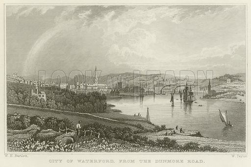 City of Waterford, from the Dunmore Road. Illustration for The Gallery of Engravings (circa 1880). Drawn by William Henry Bartlett, engraved by W Taylor.