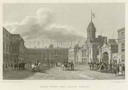 Great Court Yard at Dublin Castle. Illustration for The Gallery of Engravings (circa 1880). Drawn by George Petrie, engraved by Edward Goodall.