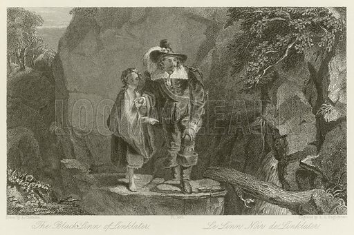 The Black Linn of Linklater, depicting Henry Morton approaching the waterfall at Linklater with a young girl acting as his guide, from Old Mortality, by Sir Walter Scott. Illustration for The Gallery of Engravings (circa 1880). Drawn by Alexander Chisholm, engraved by Timothy Stansfeld Engleheart.