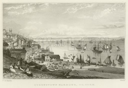 Queenstown harbour, County Cork. Illustration for The Gallery of Engravings (circa 1880). Drawn by William Henry Bartlett, engraved by Heath.