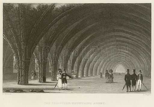 The cloisters at Fountains Abbey. Illustration for The Gallery of Engravings (circa 1880). Drawn by N Whittock, engraved by J Rogers.