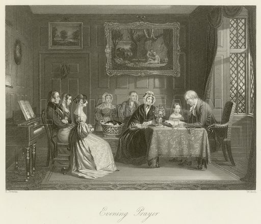 Evening prayer. Illustration for The Gallery of Engravings (circa 1880). Drawn by E Prentis, engraved by W Holl.
