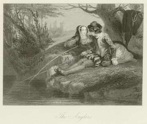 The anglers. Illustration for The Gallery of Engravings (circa 1880).