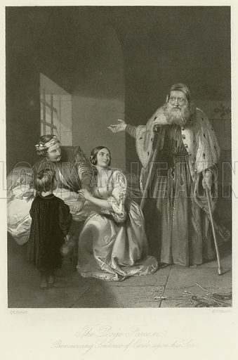 The Doge Foscari, Pronouncing Sentence of Exile upon his Son. Illustration for The Gallery of Engravings (c 1880). Drawn by John Rogers Herbert, engraved by WJ Edwards.