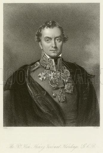 The Right Honourable Henry Viscount Hardinge, British field marshal and Governor-general of India. Illustration for The Gallery of Engravings (circa 1880). Painted by Eddis, engraved by F Holl.