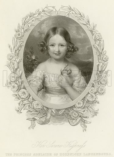 Her Serene Highness, the Princess Adelaide of Hohenlohe Langenburg. Illustration for The Gallery of Engravings (circa 1880).