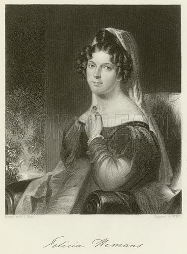 Felicia Hemans, English poet. Illustration for The Gallery of Engravings (circa 1880). Painted by William Edward West, engraved by W Holl. WIth a facsimilie of Hemans' signature.