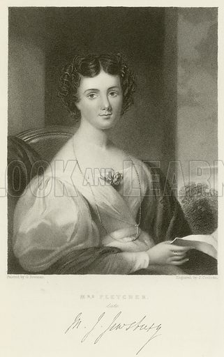 Mrs Fletcher, late Maria Jane Jewsbury. Illustration for The Gallery of Engravings (circa 1880). Painted by G Freeman, engraved by John Cochran. With a facsimilie of Fletcher's signature.