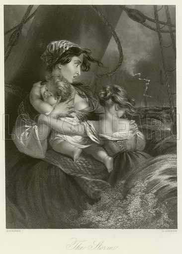 The Storm. Illustration for The Gallery of Engravings (circa 1880). Painted by Edmund Thomas Parris, engraved by H Robinson.