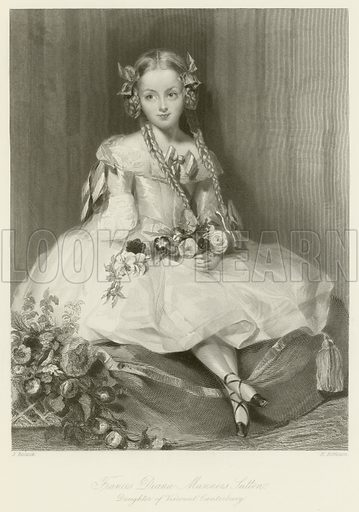 Frances Diana Manners Sutton, daughter of Viscount Canterbury. Illustration for The Gallery of Engravings (circa 1880). Drawn by J Bostock, engraved by H Robinson.