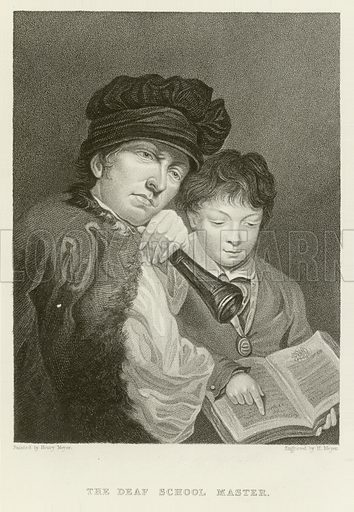 The Deaf School Master. Illustration for The Gallery of Engravings (circa 1880). Painted and engraved by Henry Hoppner Meyer.