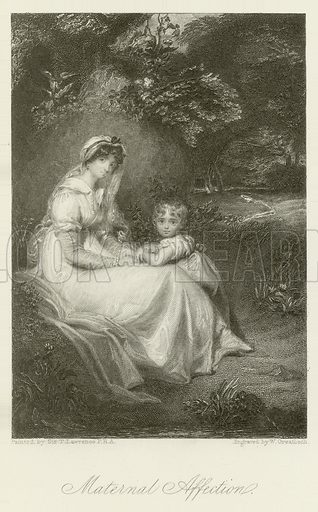 Maternal Affection. Illustration for The Gallery of Engravings (circa 1880). Painted by Sir Thomas Lawrence, engraved by W Greatbach.