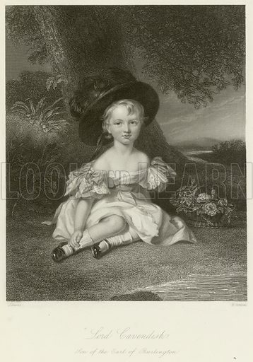 Lord Cavendish, son of the Earl of Burlington. Illustration for The Gallery of Engravings (circa 1880). Painted by J Lucas, engraved by Edward Scriven.
