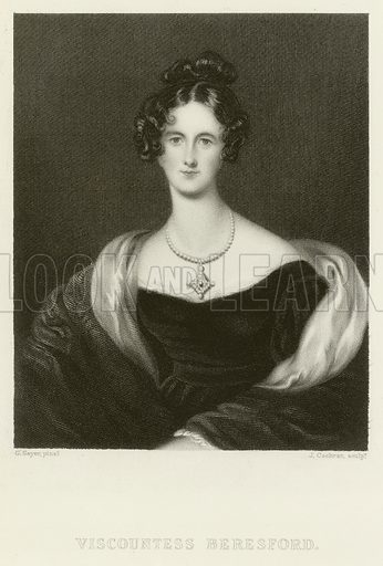 Viscountess Beresford. Illustration for The Gallery of Engravings (circa 1880). Painted by G Sayer, engraved by J Cochran.
