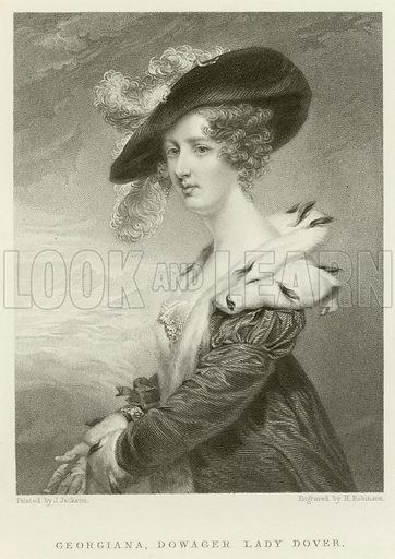 Georgiana, Dowager Lady Dover. Illustration for The Gallery of Engravings (circa 1880). Painted by J Jackson, engraved by H Robinson.
