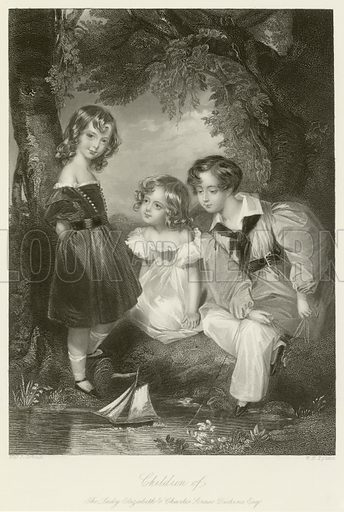 Children of the Lady Elizabeth and Charles Scrase Dickens, Esq. Illustration for The Gallery of Engravings (circa 1880). Drawn by Fanny Corbaux, engraved by WH Egleton.