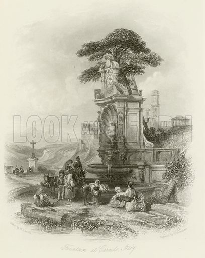 Fountain at Carnelo, Italy. Illustration for The Gallery of Engravings (circa 1880). Drawn by William Leighton Leitch, engraved by S Bradshaw.