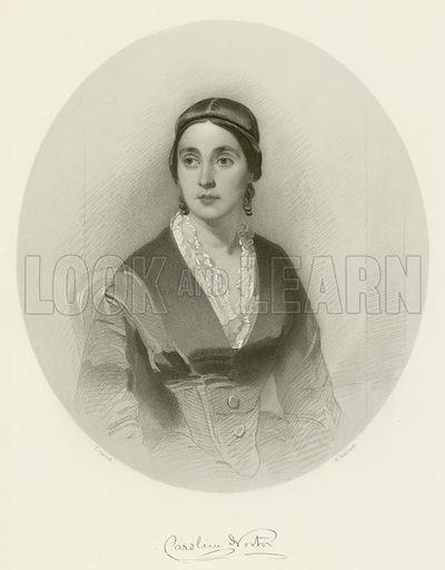 Caroline Norton, British feminist and social reformer. Illustration for The Gallery of Engravings (circa 1880). Drawn by Thomas Heathfield Carrick, engraved by H Robinson. With a facsmilie of Norton's signature.