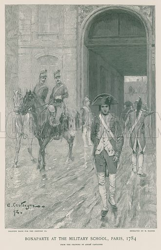 Bonaparte at the Military School, Paris, 1784. From the drawing by Andre Castaigne, engraved by M. Haider. Illustration for the Life of Napoleon Bonaparte by William Milligan Sloane (The Century Co, 1896).