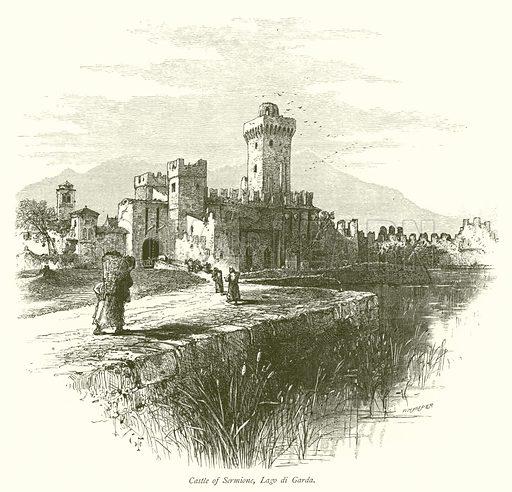 Castle of Sermione, Lago di Garda. Illustration for Picturesque Europe (Cassell, c 1880).