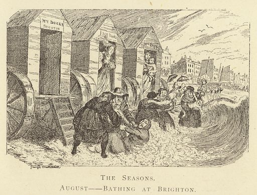 The Seasons, August, Bathing at Brighton. Illustration for Four Hundred Humorous Illustrations (Simpkin et al, c 1880).