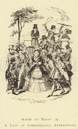 Whom to Marry (2), A Lady of Considerable Attractions. Illustration for Four Hundred Humorous Illustrations (Simpkin et al, c 1880).