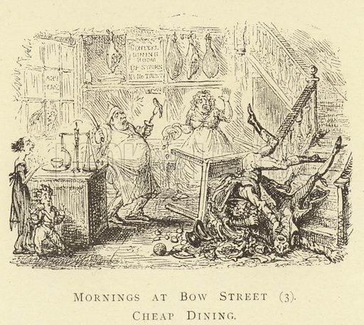 Mornings at Bow Street (3), Cheap Dining. Illustration for Four Hundred Humorous Illustrations (Simpkin et al, c 1880).