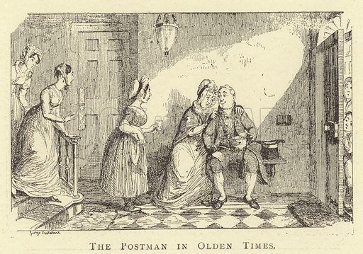 The Postman in Olden Times. Illustration for Four Hundred Humorous Illustrations (Simpkin et al, c 1880).