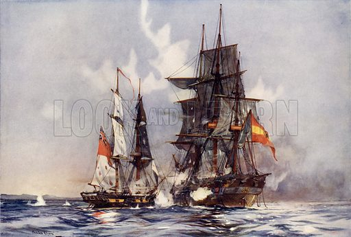 """The """"Speedy"""" Capturing the """"Gamo."""" """"Speedy,"""" 14-Gun Brig. Launched Dover, June, 1781. Tonnage 158 tons. Heaviest Gun, 4 Pdr. Illustration for Britannia's Bulwarks (c 1920)."""