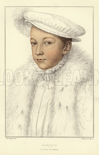 Francis II, Dauphin of France, who was 15 when he succeeded to the throne of France after the accidental death of his father, King Henry II, in 1559. Published in Facsimiles of Original Drawings by Hans Holbein, in the collection of His Majesty for the Portraits of Illustrious Persons of the Court of King Henry VIII, engraved by Francis Bartolozzi, with biographical notices by Edmund Lodge. Published by John Chamberlain, keeper of the King's drawings and medals. Originally printed by W Bulmer and Company, reproduced from the original plates, Hamilton, Adams, & Co, London, 1884.