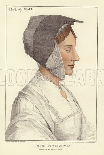 Anne Berkeley, Baroness Berkeley, lady-in-waiting and companion of Queen Anne Boleyn, the second wife of Henry VIII of England. Published in Facsimiles of Original Drawings by Hans Holbein, in the collection of His Majesty for the Portraits of Illustrious Persons of the Court of King Henry VIII, engraved by Francis Bartolozzi, with biographical notices by Edmund Lodge. Published by John Chamberlain, keeper of the King's drawings and medals. Originally printed by W Bulmer and Company, reproduced from the original plates, Hamilton, Adams, & Co, London, 1884.