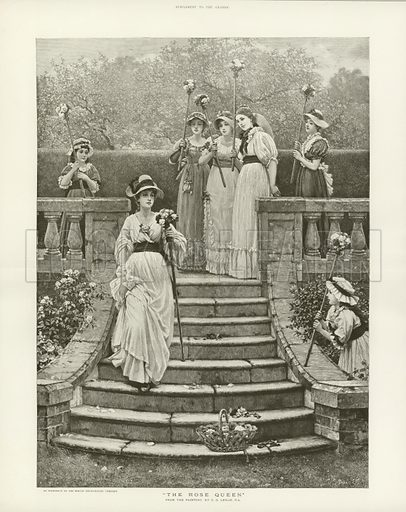 The Rose Queen, from the painting of Charles Dunlop Leslie. Published in a supplement to The Graphic.