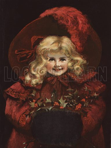 Cover of The Graphic Christmas Number, 1896, featuring a smiling young girl, wearing a red coat and bonnet, with her hands in a muff decorated with holly.