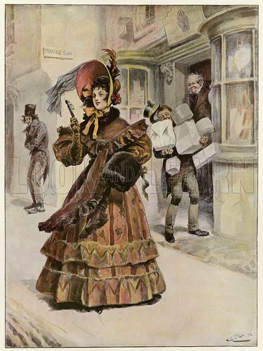 Lady Belinda goes a-shopping to buy her yule-tide gifts. Published in The Graphic Christmas Number, 1897.