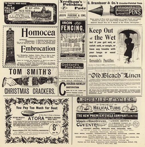 Advertising spread from The Graphic Christmas Number, 1897, featuring advertisements for R D & J B Fraser, buyers of false teeth, Needham
