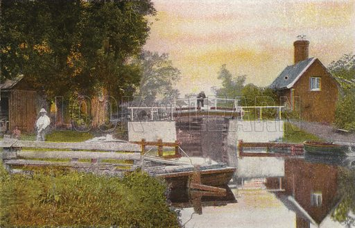 Coltishall Lock. Illustration for Pictures in Colour of the Norfolk Broads (Jarrold, c 1905).