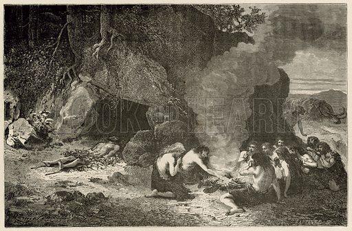 Un repas funeraire a l'epoque du grand ours et du mammouth. Illustration for L'Homme Primitif by Louis Figuier (Hachette, 1870).