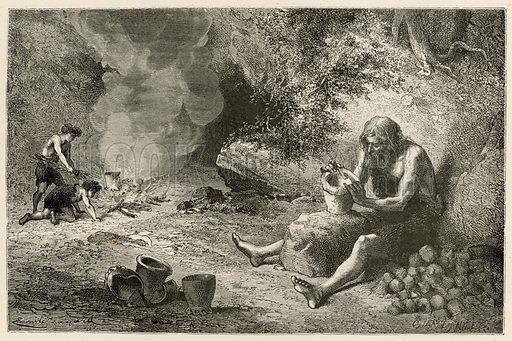 Le premier potier. Illustration for L'Homme Primitif by Louis Figuier (Hachette, 1870).