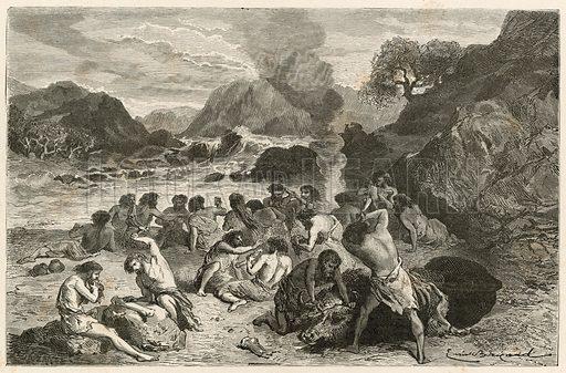 Un festin a l'epoque du renne. Illustration for L'Homme Primitif by Louis Figuier (Hachette, 1870).