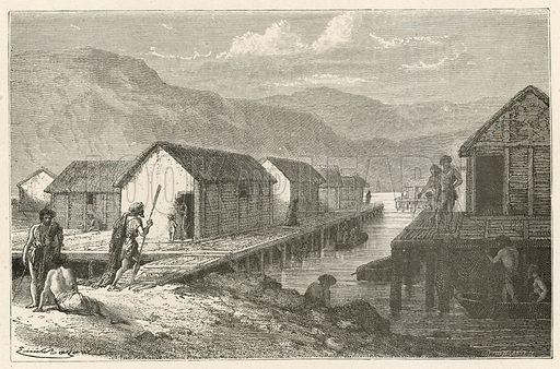 Un village lacustre de la Suisse a l'epoque du bronze. Illustration for L'Homme Primitif by Louis Figuier (Hachette, 1870).