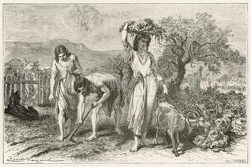 La culture des jardins a l'Epoque du bronze. Illustration for L'Homme Primitif by Louis Figuier (Hachette, 1870).