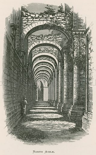 Fountains Abbey, North Aisle. Illustration for The Ruined Abbeys of Britain by Frederick Ross (William Mackenzie, c 1885).