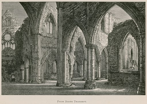 Tintern Abbey, From South Transept. Illustration for The Ruined Abbeys of Britain by Frederick Ross (William Mackenzie, c 1885).