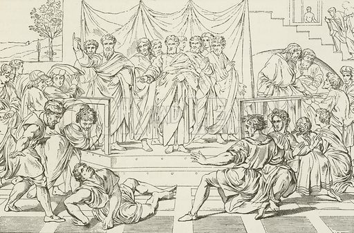 The Death of Ananias. Illustration for The Pathway of Life by T Dewitt Talmage (Johnson, 1890).