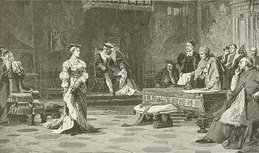 Queen Catharine, of Aragon, Denies the Right of the Ecclesiastical Court to Adjudge her Cause. Illustration for The Pathway of Life by T Dewitt Talmage (Johnson, 1890).