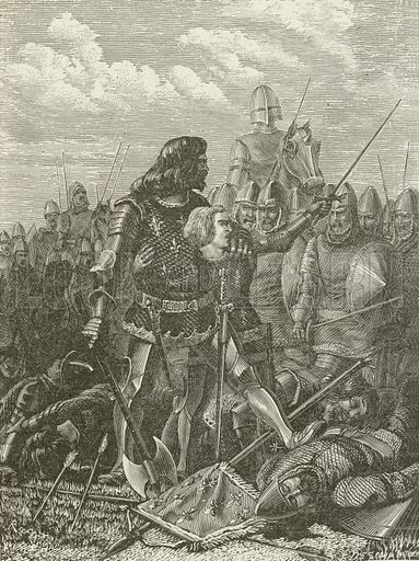 Henry V at the Battle of Agincourt. Illustration for The Pathway of Life by T Dewitt Talmage (Johnson, 1890).