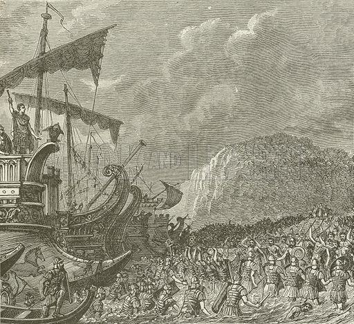 Landing of the Romans, under Caesar, in Britain, BC 55. Illustration for The Pathway of Life by T Dewitt Talmage (Johnson, 1890).