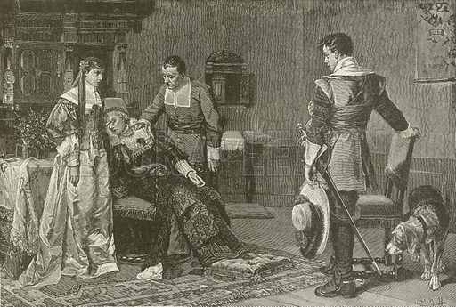Jane Waring receives Notice of Dean Swift's Perfidy. Illustration for The Pathway of Life by T Dewitt Talmage (Johnson, 1890).